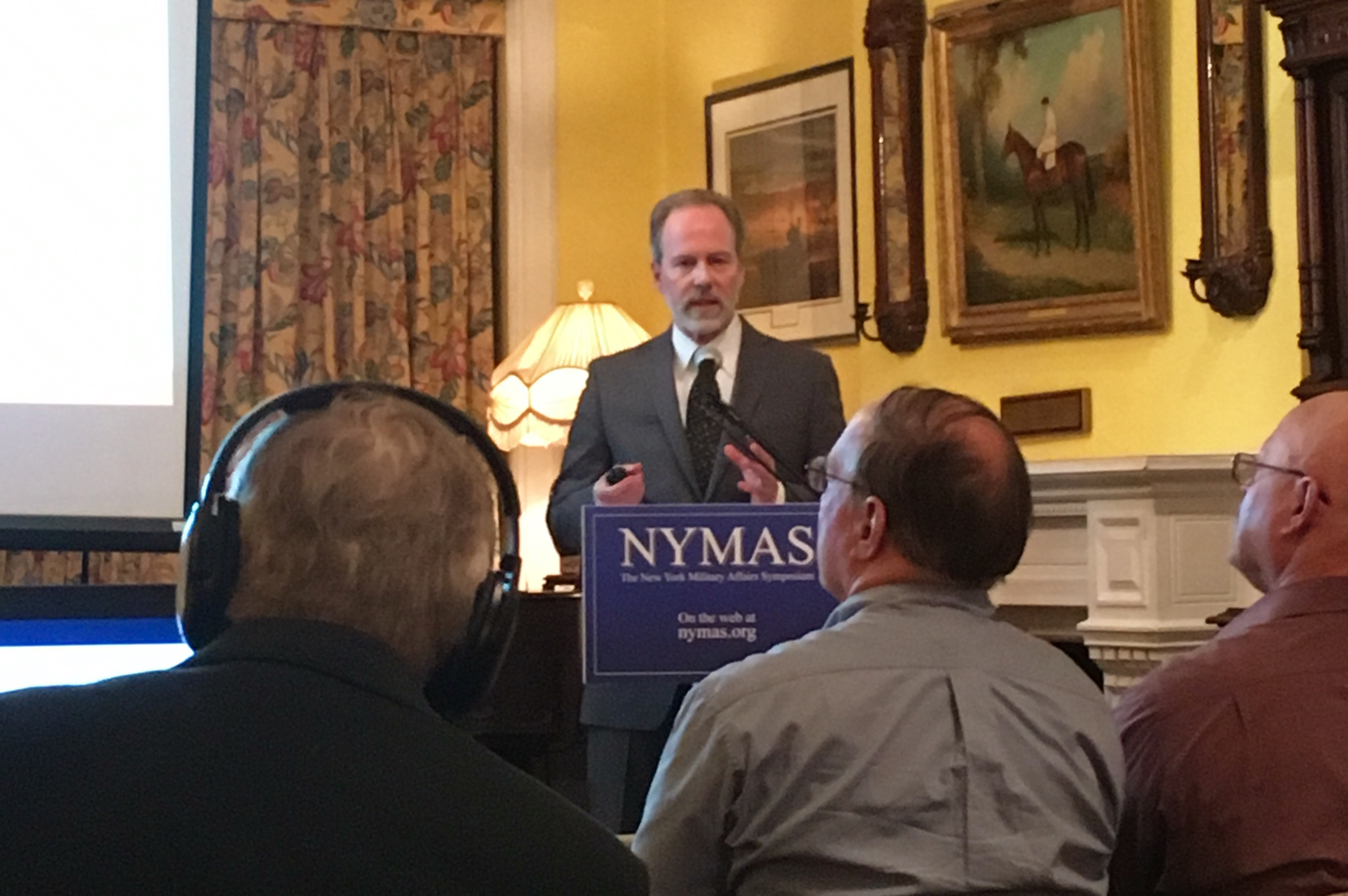 Eric F. Frazier speaks at the New York Military Affairs Symposium May 5, 2017