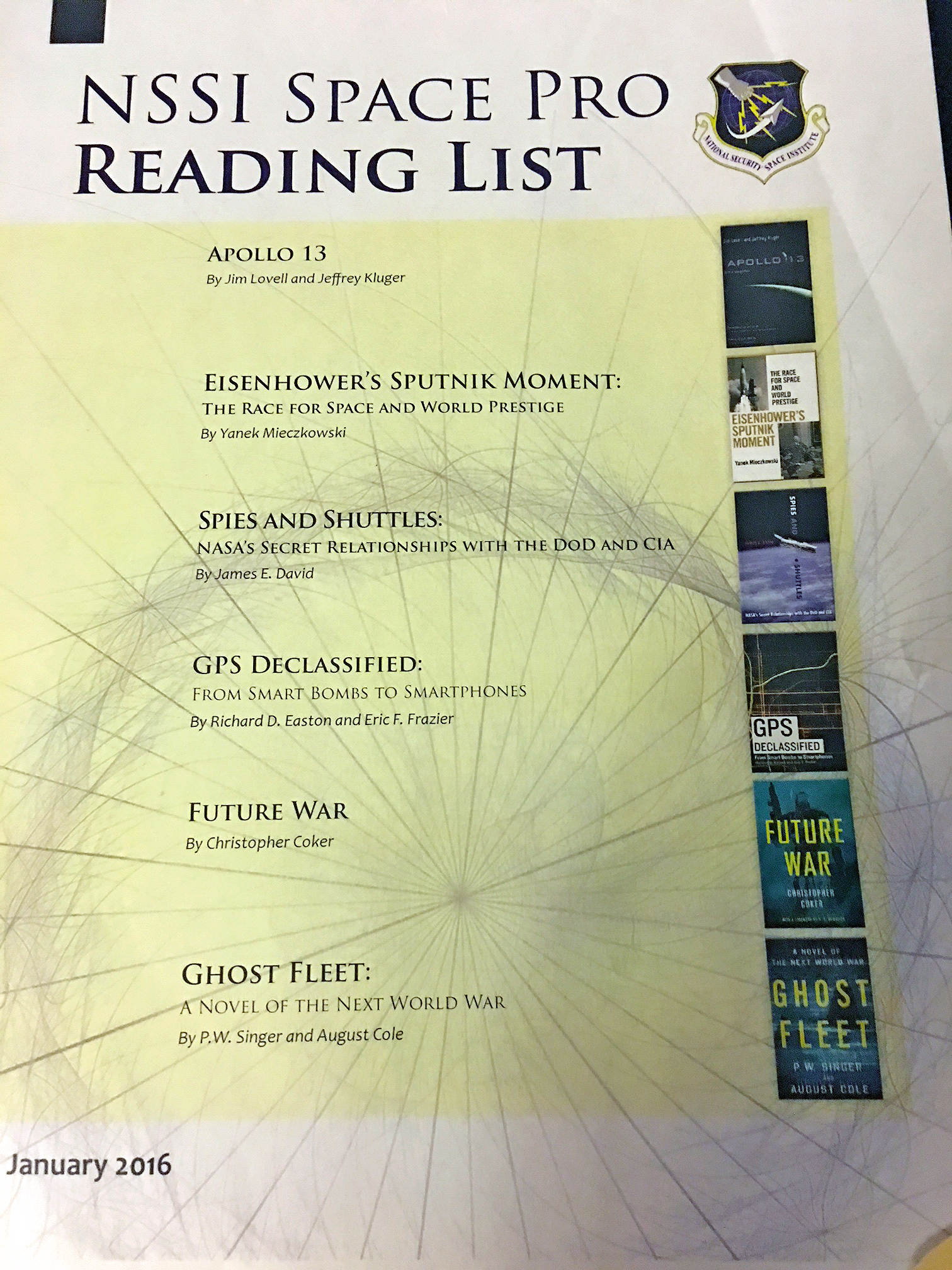 GPS Declassified is one of six titles chosen for the 2016 Space Professionals Reading List by NSSI